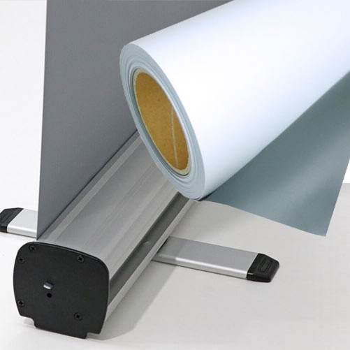 """Solvent Grey Backed, Front Lit P.E.T Film 36"""" - 30m"""